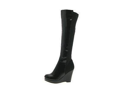 faux leather the knee elasticated wide calf wedge