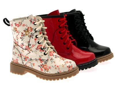 KIDS GIRLS FLAT LACE UP ANKLE BOOTS LACES PATENT FLORAL FAUX ...