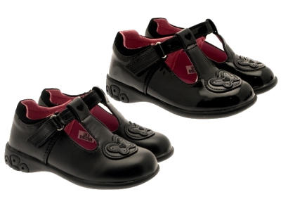 Chatterbox Girls Kids Black School Shoes Tbar Lights Heel