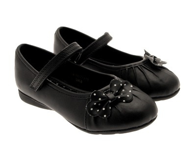 CHATTERBOX GIRLS KIDS WHITE WEDDING BLACK SCHOOL SHOES FAUX LEATHER SIZE 4 -12