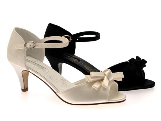 WOMENS LOW HEEL SATIN STRAPPY BOW BRIDAL PROM WEDDING SHOES