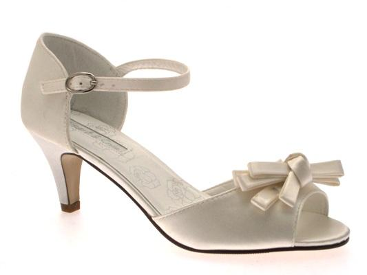 WOMENS LOW HEEL SATIN STRAPPY BOW BRIDAL PROM WEDDING SHOES ...