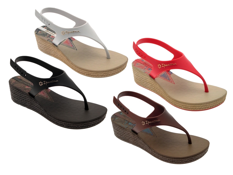 55ad78dde4f0 Image is loading WOMENS-IPANEMA-WEAVE-WEDGE-SANDALS-ANKLE-STRAP-FLIP-