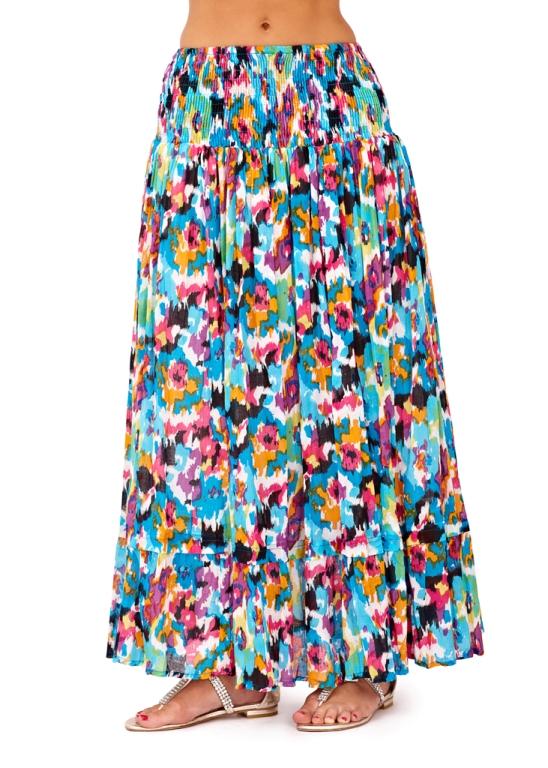 DUAL AZTEC STRAPLESS SUMMER MID DRESS MAXI LENGTH SKIRT STRETCH COTTON LADIES