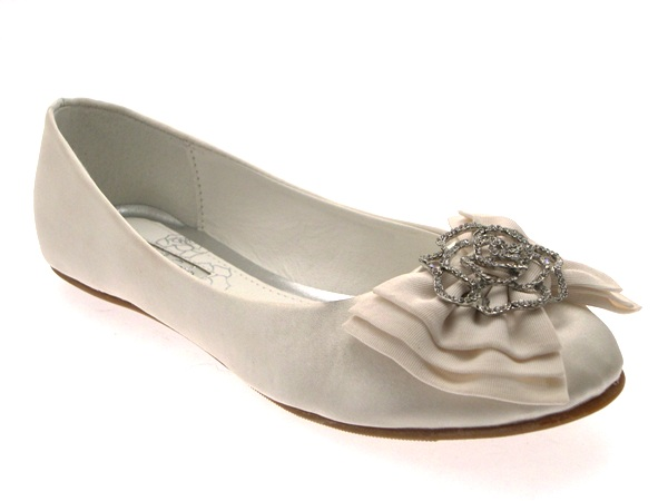 Womens Low Heel Flat Satin Ballet Pumps Bow Bridal Prom Wedding Shoes Ivory 3 8