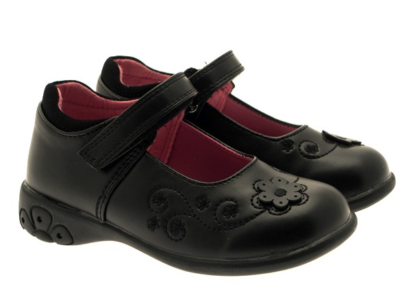CHATTERBOX NEW GIRLS BLACK SCHOOL SHOES LIGHTS IN HEEL FAUX LEATHER SIZE 4 -12