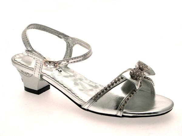 Girls Low Heel Diamante Wedding Bridesmaid Party Gold Silver Shoes Sandals 8 2