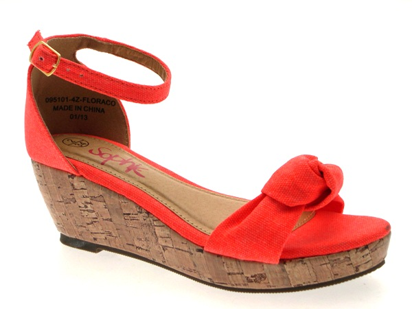 GIRLS KIDS LADIES CORK CANVAS LOW WEDGE STRAPPY SANDALS