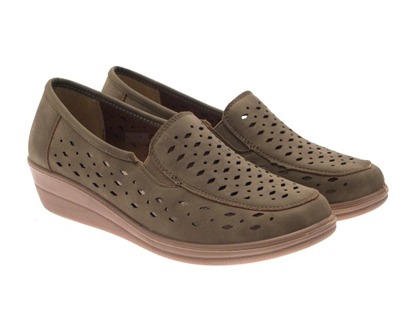 Womens Soft Leather Lined Wide Comfort Flexible Mules Low