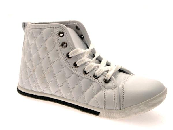 WOMENS QUILTED HI TOP LACES TRAINERS PUMPS ANKLE BOOTS PLIMSOLLS ...