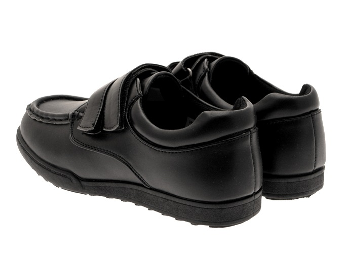 new boys black formal loafers school shoes velcro
