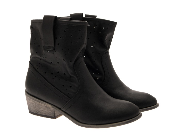 womens perforated festival cowboy ankle boots low block
