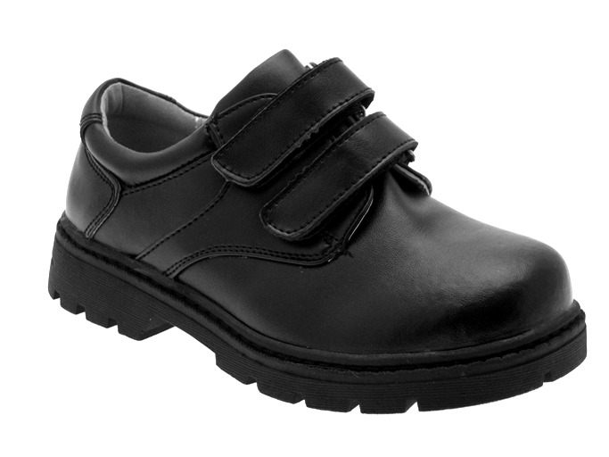 boys black leather school shoes velcro size 9 13 ebay