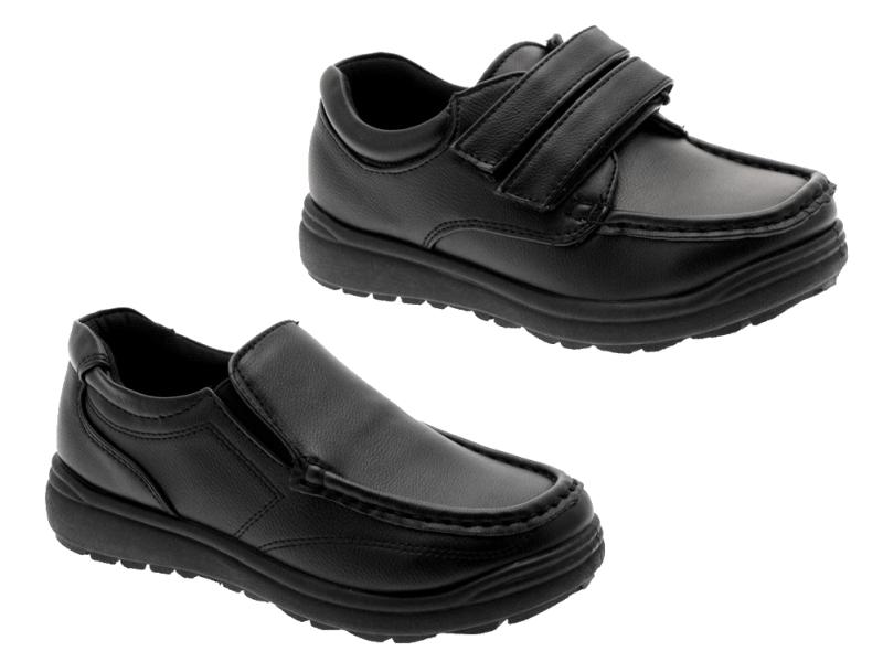 new boys black school shoes slip on smart formal faux