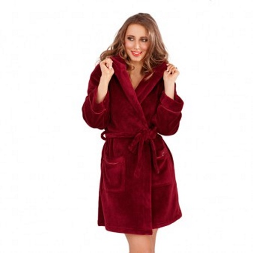 WOMENS HOODED SHORT BATH ROBE DRESSING GOWN HOUSECOAT WITH BELT ...