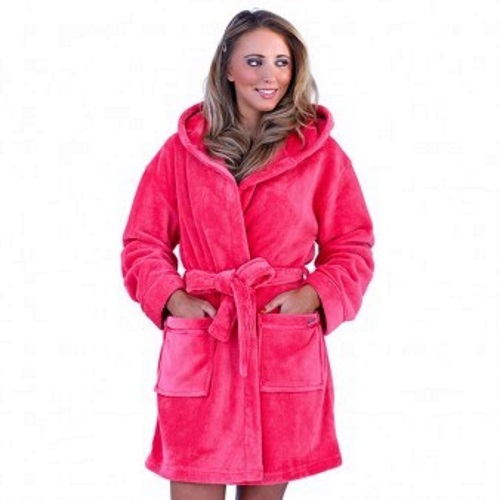 WOMENS-HOODED-SHORT-BATH-ROBE-DRESSING-GOWN-HOUSECOAT-WITH-BELT-LADIES ...