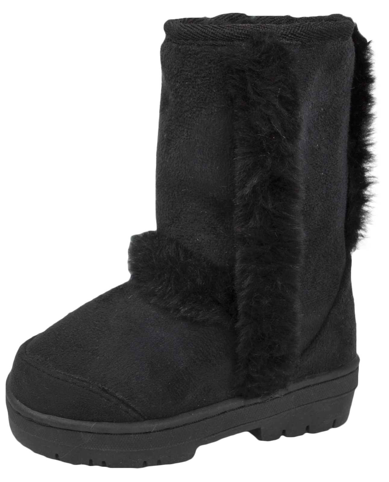 Girls Fur Boots Faux Sheepskin Fur Lined Mid Calf Flat Childrens Kids Warm Boots