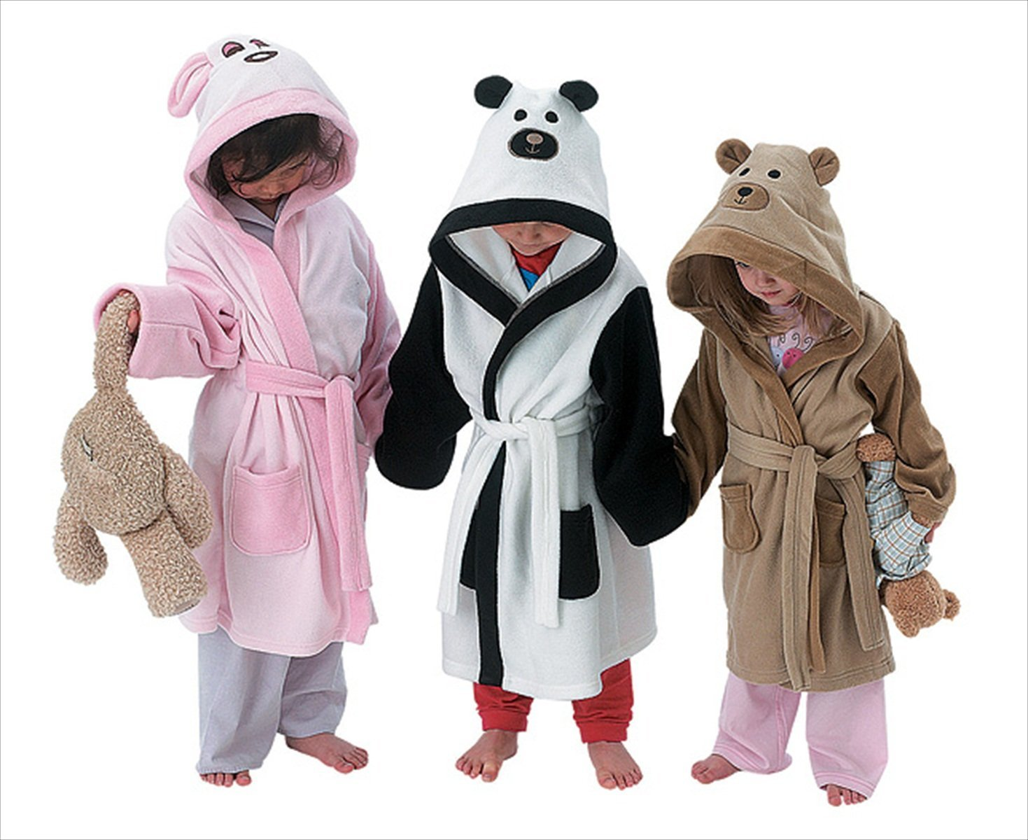 KIDS GIRLS BOYS HOODED BATH ROBE DRESSING GOWN HOUSECOAT TEDDY PANDA ...