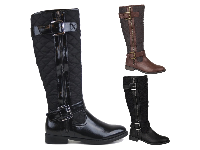 WOMENS QUILTED RIDING BIKER KNEE HIGH BOOTS FLAT BUCKLE LADIES ...