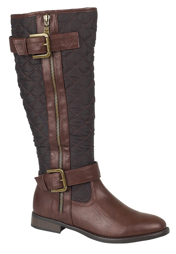 WOMENS QUILTED RIDING BIKER KNEE HIGH BOOTS FLAT BUCKLE LADIES ... : brown quilted riding boots - Adamdwight.com