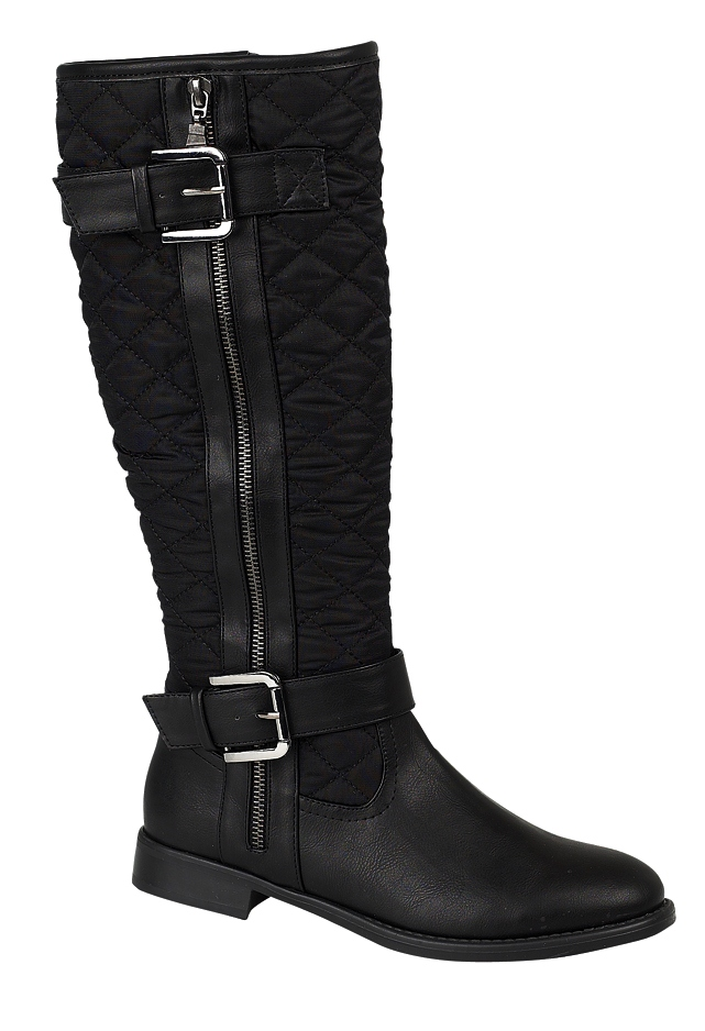 womens quilted biker knee high boots flat buckle