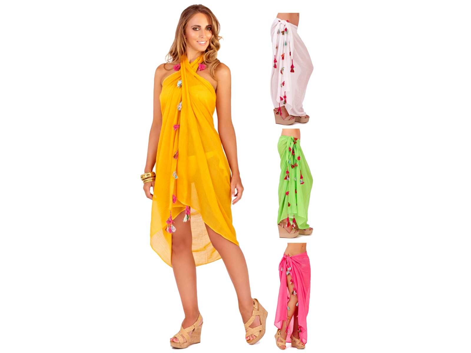 WOMENS TASSLE SARONG BEACHWEAR DRESS WRAP BEACH COVER UP COTTON LADIES ONE SIZE