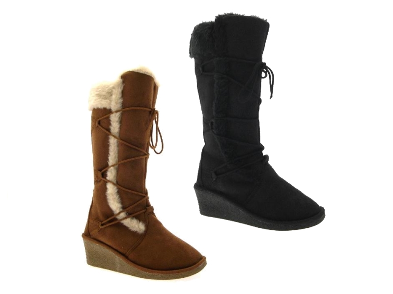 womens ella wedge heel faux sheepskin fur lined snow knee