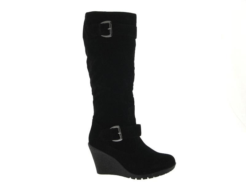 womens black wedge platform knee high biker boots