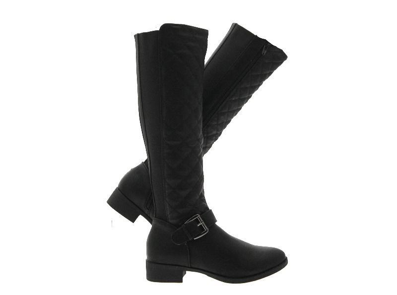 Para mujer Quilted Stretch amplia becerro Botas De Montar Knee High Plana señoras tamaño del Reino Unido 3-8