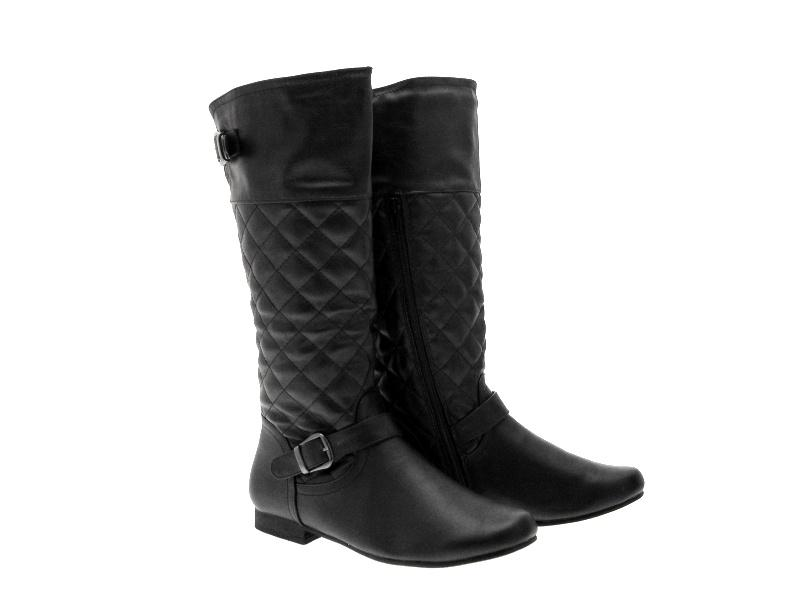 womens quilted biker boots knee high flat black