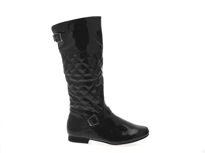 womens quilted biker boots knee high flat black
