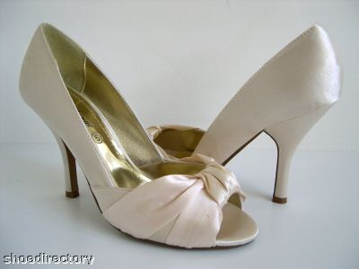 PEEPTOE CHAMPAGNE CREAM SATIN SHOES BRIDAL WEDDING 4 37