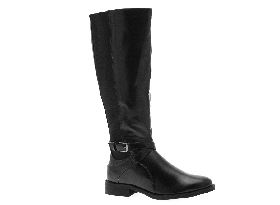 womens stretch wide calf flat boots knee high black