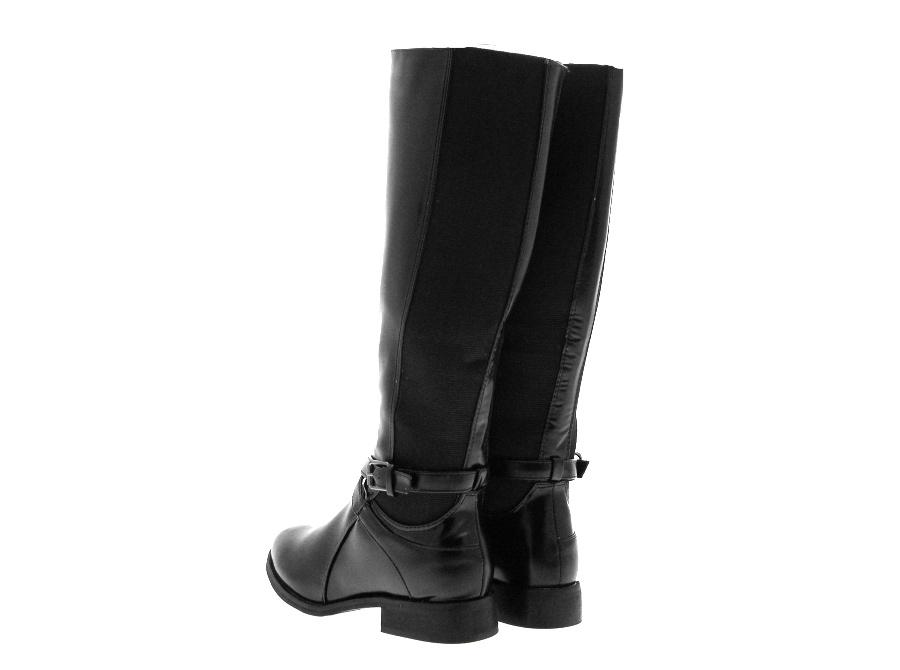 femme stretch large mollet bottes cavali res plates et hautes noir filles femmes taille 3 8 ebay. Black Bedroom Furniture Sets. Home Design Ideas