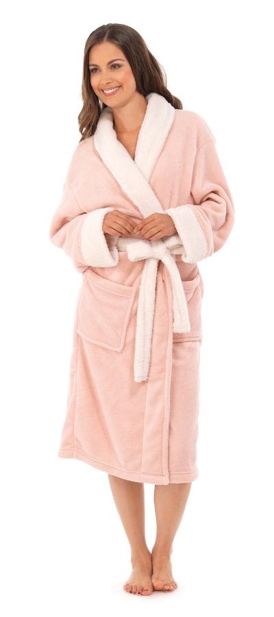 Womens Full Length Bath Robe Dressing Gown Housecoat Fur