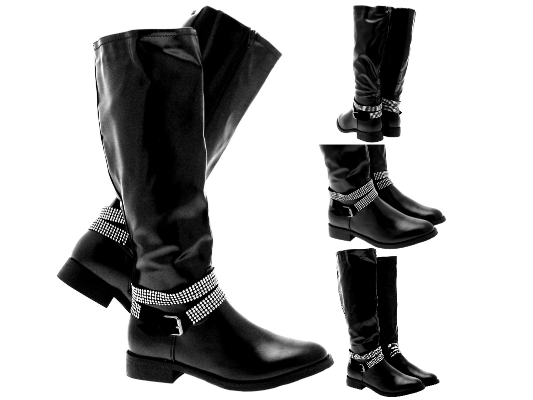 womens studded ankle biker boots knee high