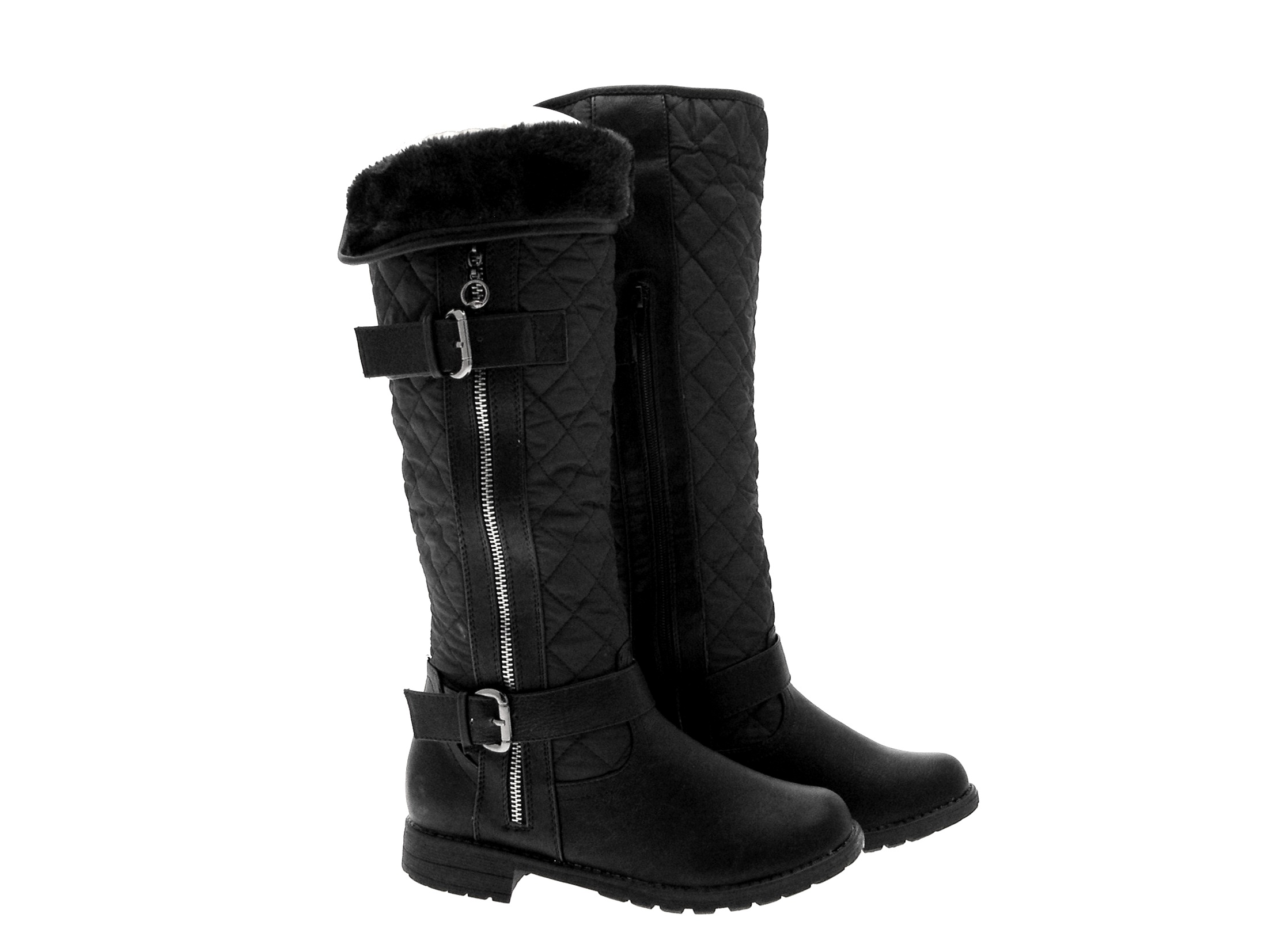 womens quilted biker knee high snow boots flat fur