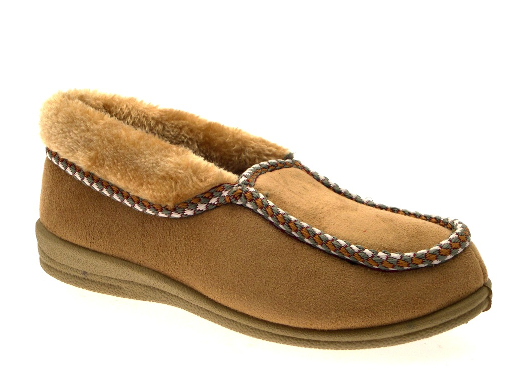 FUR LINED WOMENS MOCCASIN SLIPPERS BOOTS MOCCASINS FAUX ...