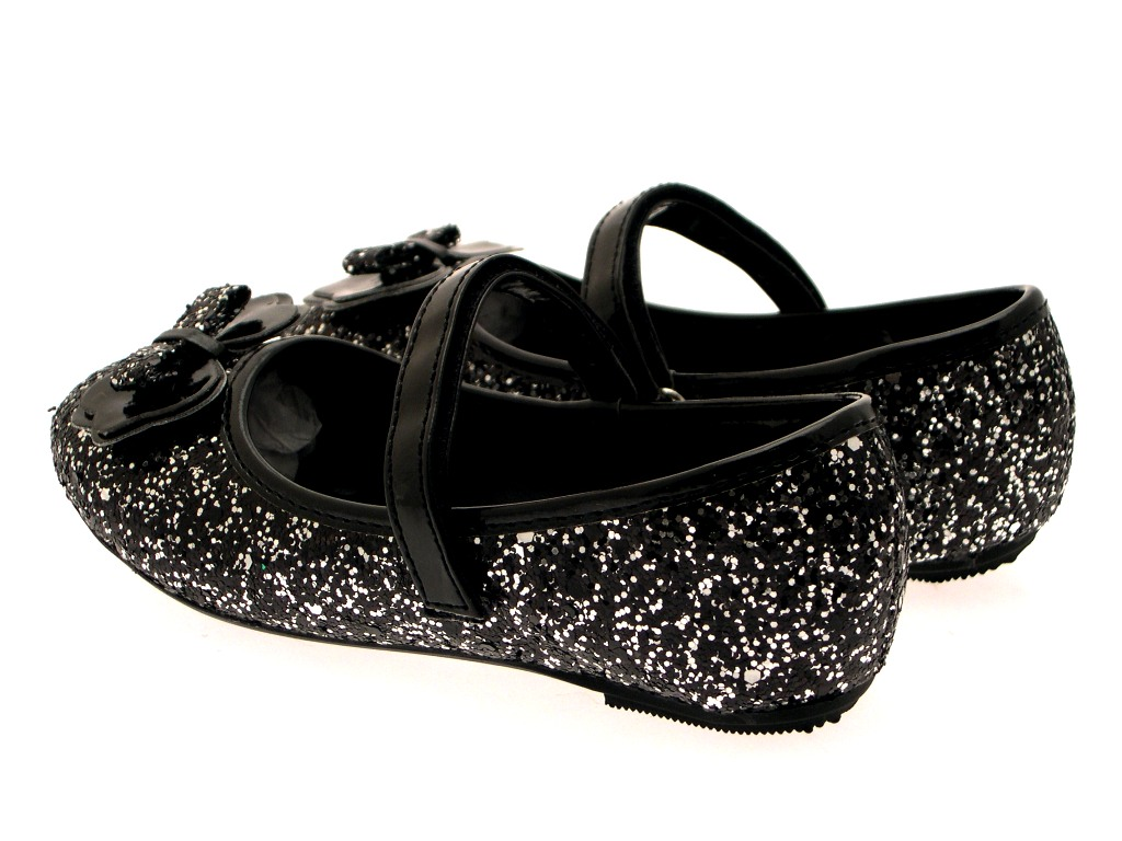 GIRLS KIDS CHILDRENS GLITTER BALLET PUMPS XMAS PARTY MARY JANE SHOES SIZE 6 - 12