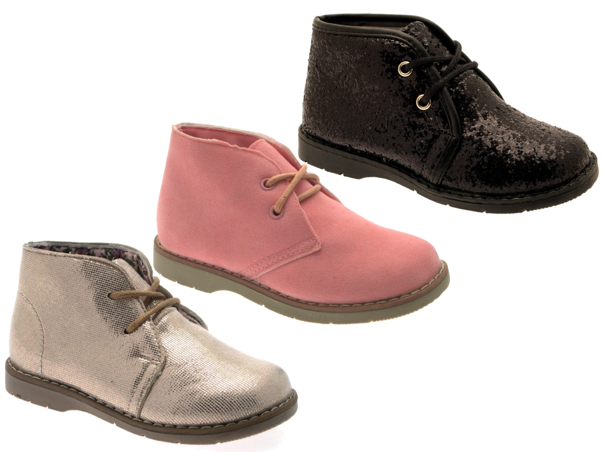 NEW GIRLS KIDS DESERT ANKLE BOOTS LACE UP FAUX SUEDE PARTY SHOES SIZE UK 6  - 5
