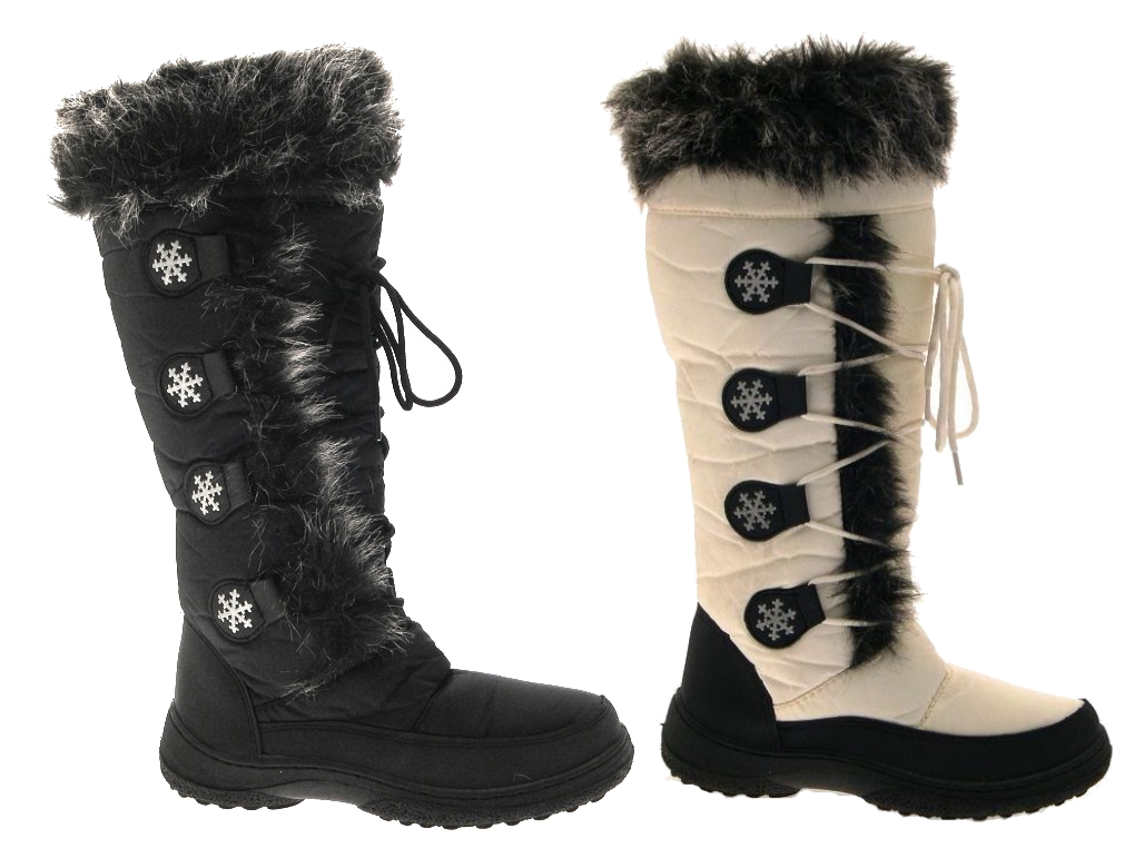 Lastest S1E WOMENS LADIES BLACK ANKLE FUR SNOW MUCKER WINTER WARM