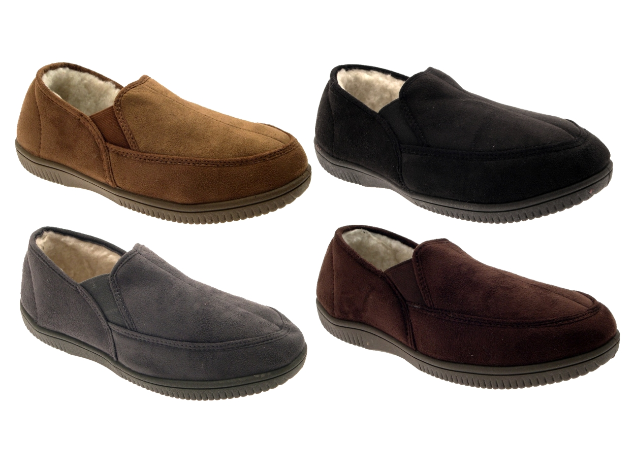 b6f7da4f365 Details about MENS SLIPPERS MOCCASINS MULES FAUX SUEDE FUR LINED FAUX  SHEEPSKIN SHOES 7-12