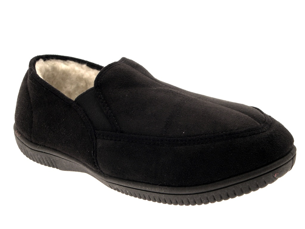 Mens Slippers Moccasins Mules Faux Suede Fur Lined Faux