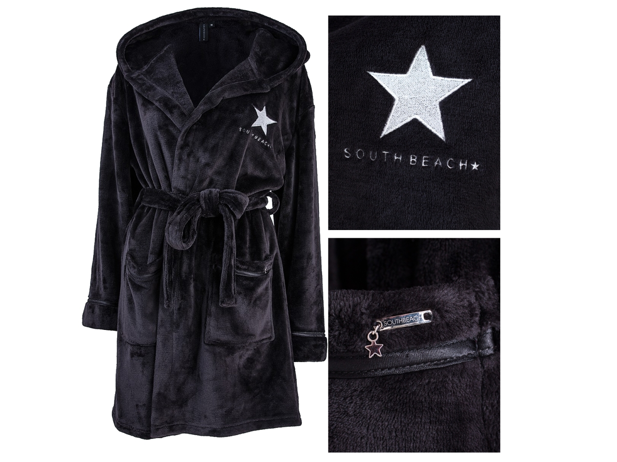 SOUTH BEACH STAR WOMENS HOODED SHORT BATH ROBE DRESSING GOWN LADIES ...