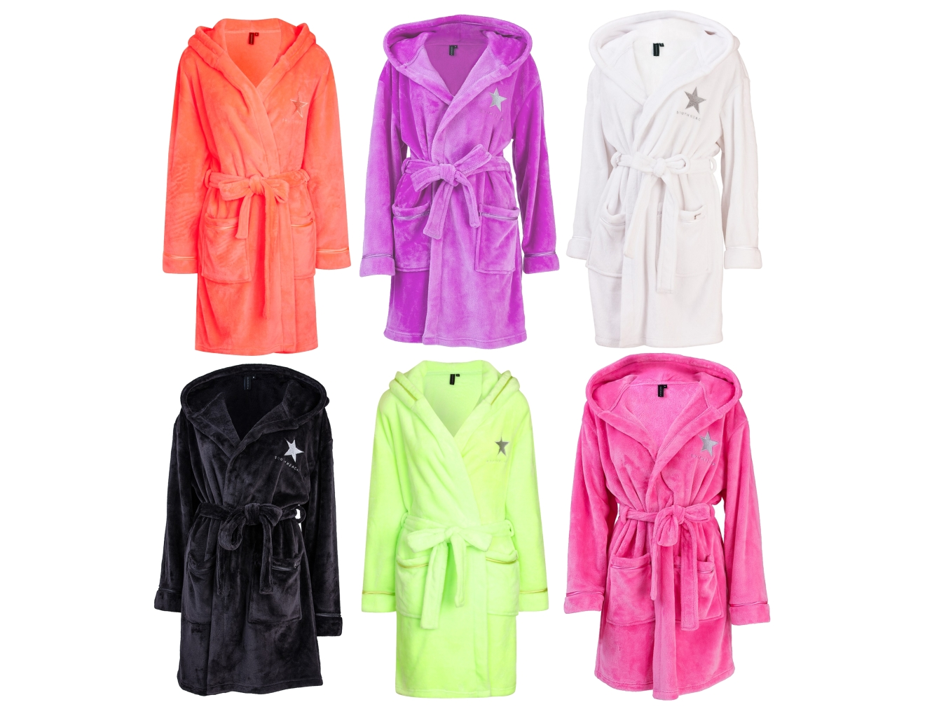 SOUTH BEACH STAR WOMENS HOODED SHORT BATH ROBE DRESSING GOWN LADIES ... 084b7dc74