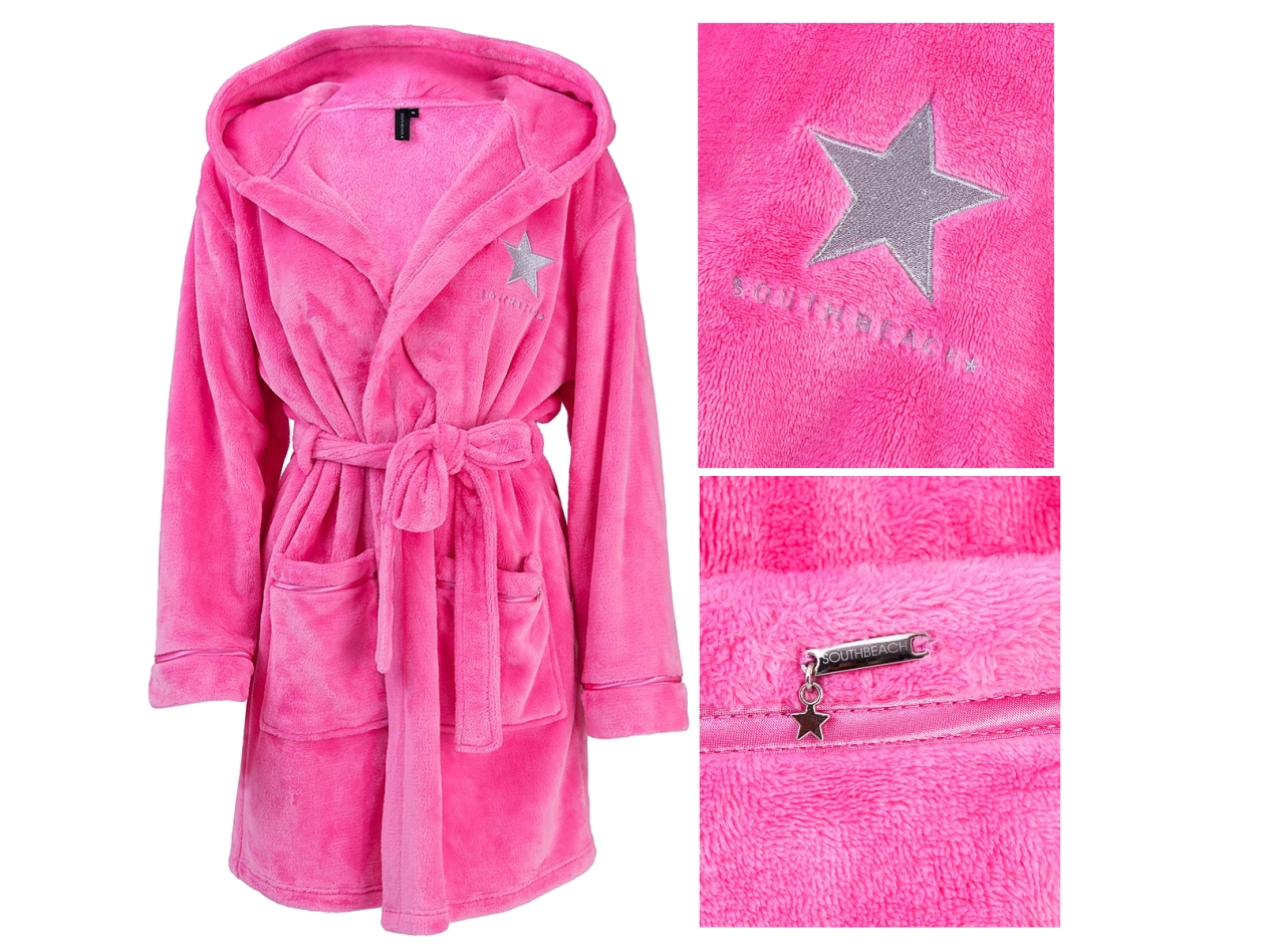 Details about SOUTH BEACH STAR WOMENS HOODED SHORT BATH ROBE DRESSING GOWN LADIES SIZE 8 - 16