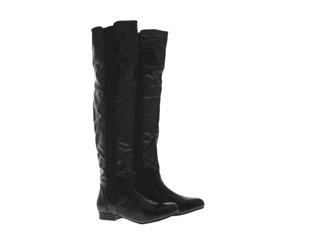 womens stretch calf flat boots thigh high knee