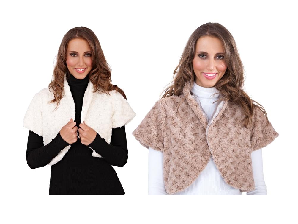 WOMENS LADIES FAUX FUR SHRUG BRIDAL CAPE CROPPED COAT WRAP WINTER WARM SIZE 8-14
