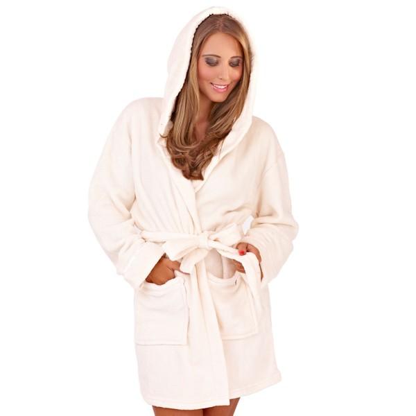 femme capuche court peignoir robe de chambre peignoir. Black Bedroom Furniture Sets. Home Design Ideas