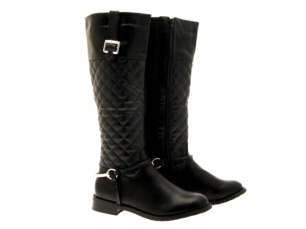 womens stirup quilted wide calf boots knee high